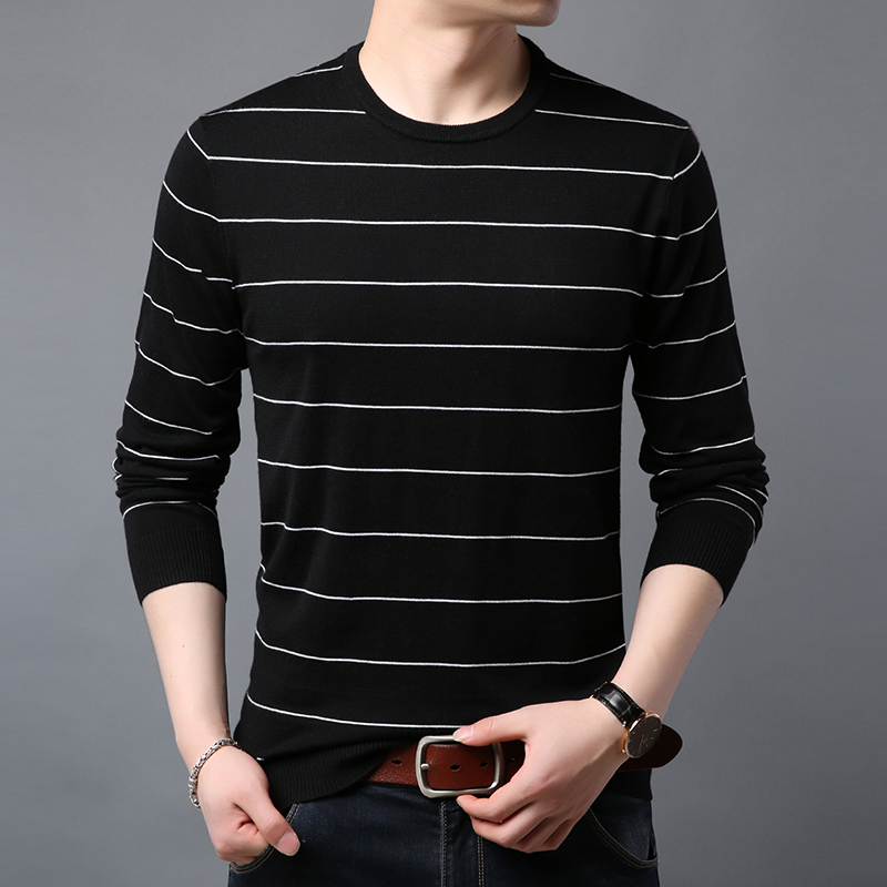 2019 spring sweater men 39 s sweater navy shirt men 39 s fashion striped business casual knit sweater men 39 s slim bottoming sweater in Pullovers from Men 39 s Clothing