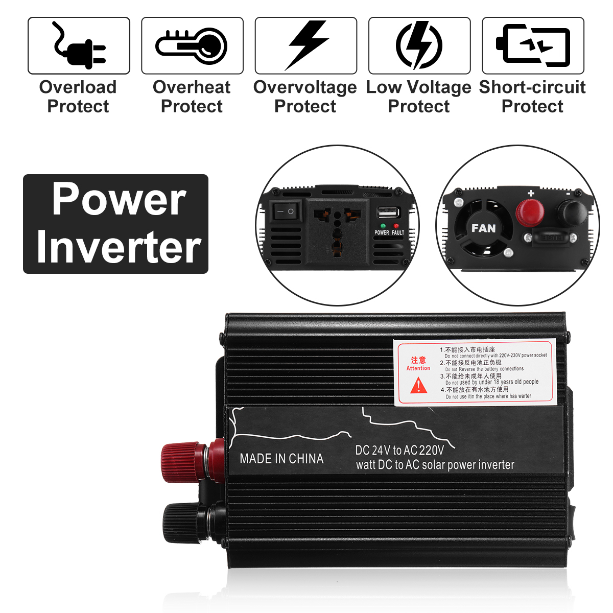Sine Wave 1000W DC-AC Car Inverter 12V to 220V Power Inverter Volts Converter Charger Transformer  Vehicle Power Supply Switch