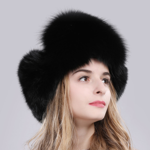 Image 3 - Женская шапка ушанки из натурального Лисьего меха, теплая шапка ушанки из натурального меха лисы, зима 2020