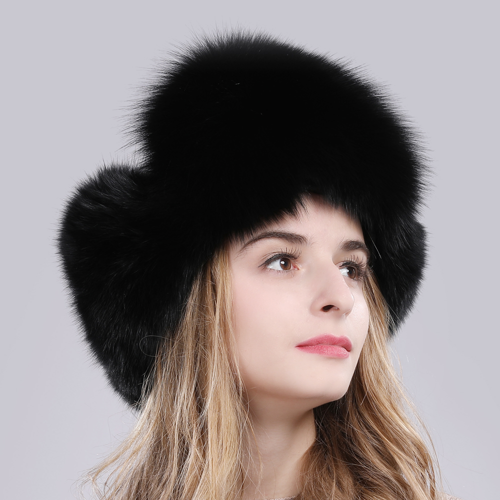 Image 3 - 2019 Hot Sale Women Natural Fox Fur Russian Ushanka Hats Winter Thick Warm Ears Fashion Bomber Hat Lady Genuine Real Fox Fur Cap-in Women's Bomber Hats from Apparel Accessories on AliExpress