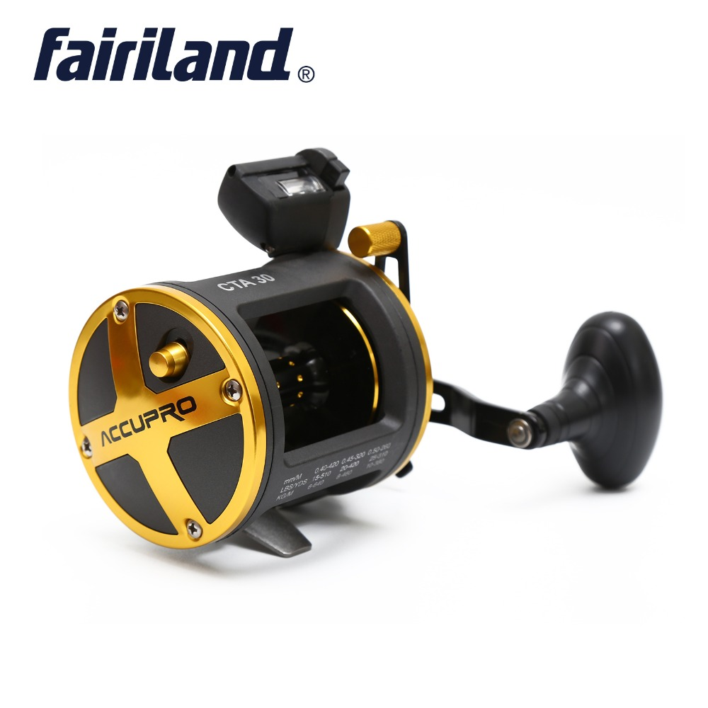Fairiland Drum Trolling Reel with Digital Counter RIGHT HAND 12 18Kg Drag Power Boat Fishing Reel