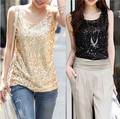 2015 nueva señora Summer camisa más del tamaño brillante chaleco de lentejuelas Bling mujeres Tank Top sin mangas Tops T básico camisetas Casual camisola