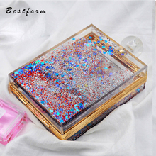 hot deal buy women transparent bag quicksand messenger bags female gold silver red acrylic perfume bottle bag bride evening bags for wedding