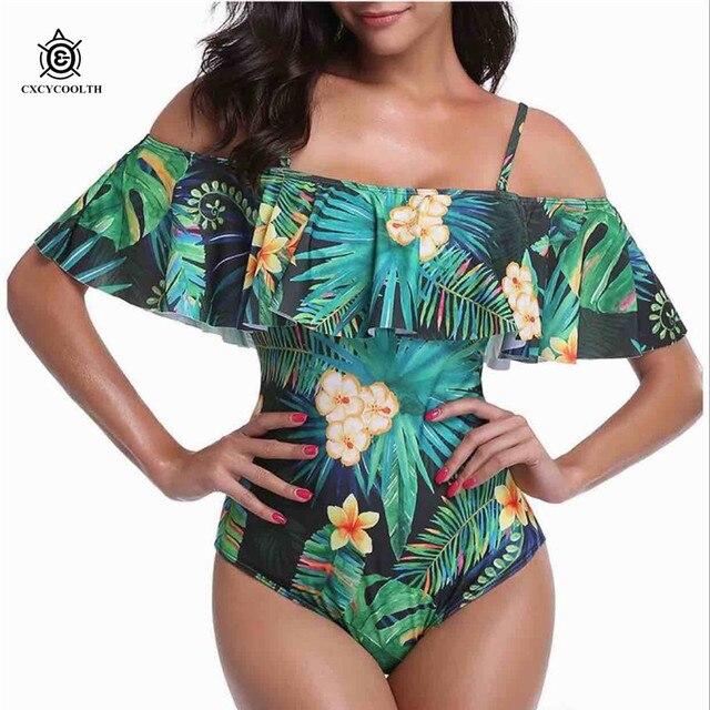08ea97c0ca02cd CXCYCOOLTH 2018 New Sexy Off Shoulder Swimwear Women One Piece Swimsuit  Female Bathing Suits Ruffle Monokini