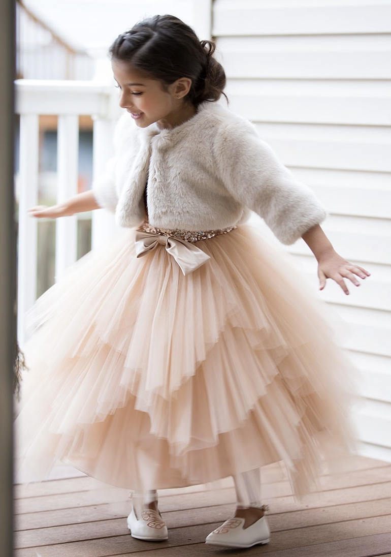 2019 Sequin A line   Flower     Girls     Dresses   for Weddings Tutu Tulle Birthday Party   Girl   Communion Pageant Gown with Big Bow