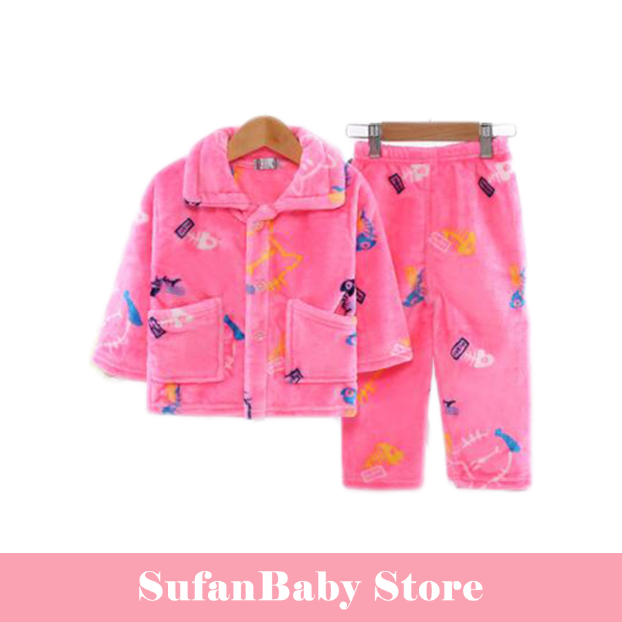 Kids clothes winter warm pajama girls boys set sleepwear Long sleeve baby children clothing sets Soft fleece velvet homewear 3pcs set winter baby sets cotton princess style baby girls clothes lace clothing soft warm clothes