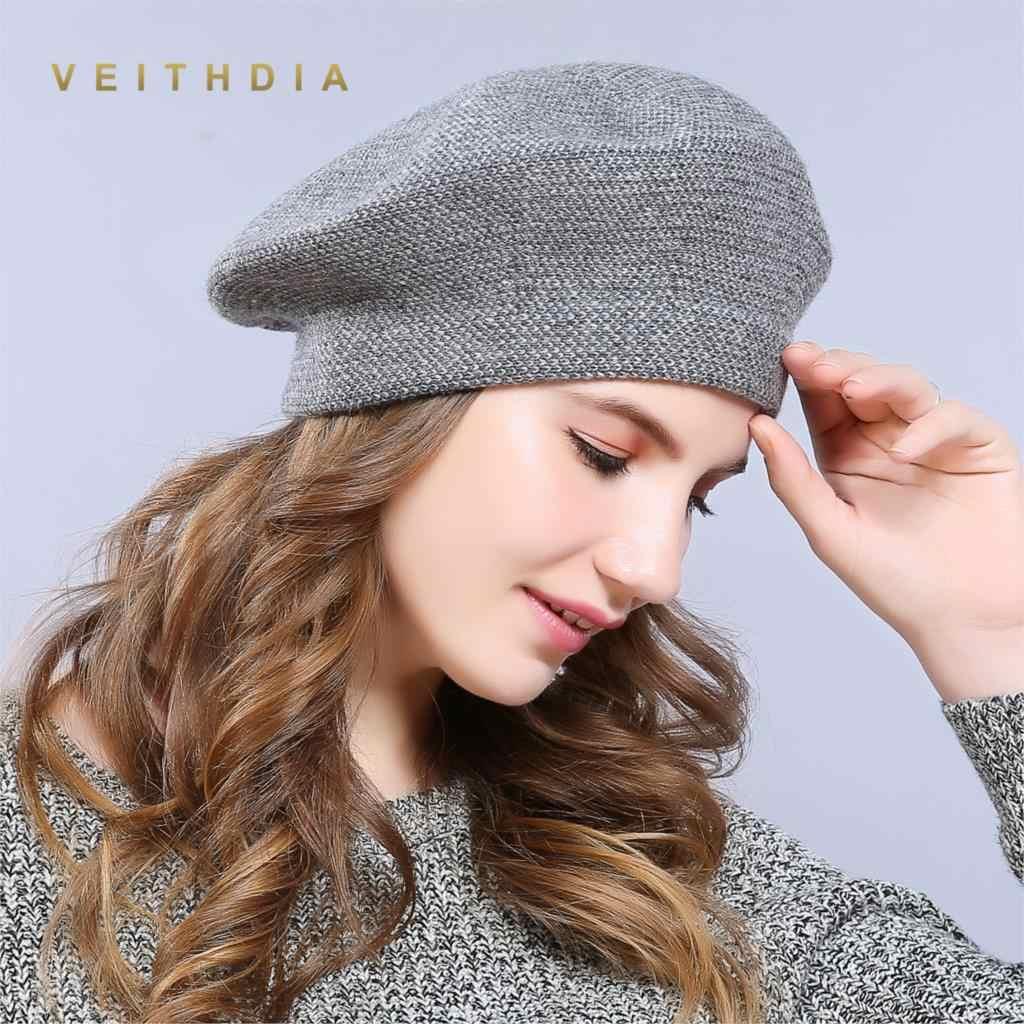 VEITHDIA nuevo sombrero de invierno boinas 2018 lana Cachemira mujer  caliente marca Casual alta calidad mujeres 9853f5f93b23