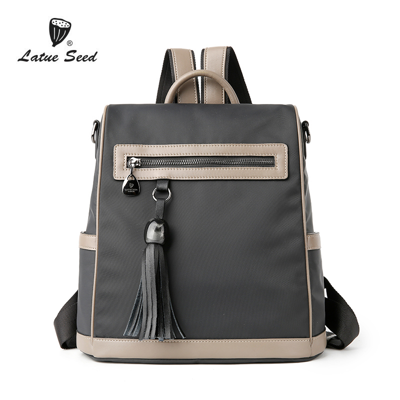 Latue Seed Backpack Women 2018 New Solid Wild Tide Oxford Cloth Casual Ladies Fashion Backpack Black Dark Gray