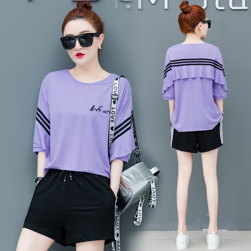 Summer Purple Tracksuit Outfit for Women Suits Plus Size 2 Piece Sets 2019 Short Pants and Top Sportswear Co ord Female Clothing in Women 39 s Sets from Women 39 s Clothing