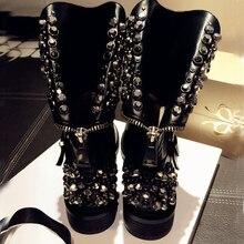 2016 hot  Low cowhide Martin boots rivet short boots zipper flat single shoe female knight boots locomotive boots