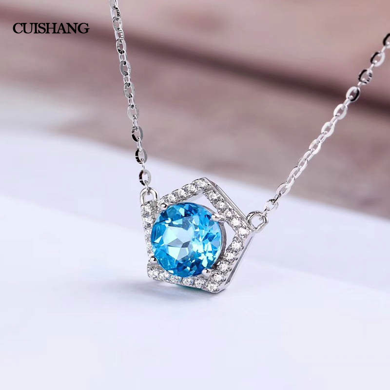 CSJ Natural Blue Topaz Topaz Pendants 925 Sterling Silver Engagement Necklace For Women Wedding Party Gift Fine Jewelry 2 3mm red natural agate necklace multi layers 925 sterling silver with real pearl fine womne jewelry wedding party necklace