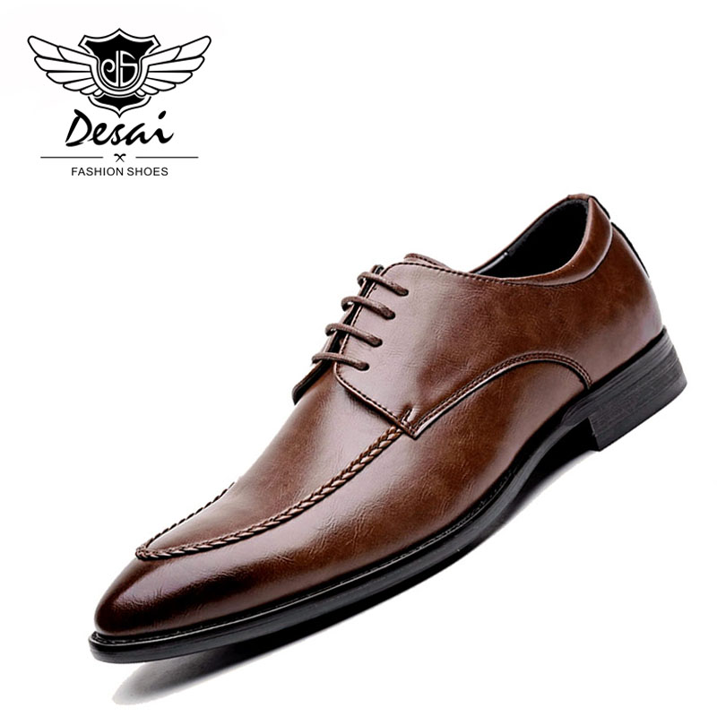DESAI Oxfords Leather Men Shoes Fashion Casual Pointed Top Formal Business Male Casual Shoes Men Dress