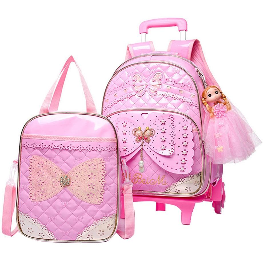 子供 girls トロリー通学セット荷物輪ブックバッグバックパック最新リムーバブル子供の学校のバッグ 2/6 ホイール階段  グループ上の スーツケース & バッグ からの スクールバッグ の中 1