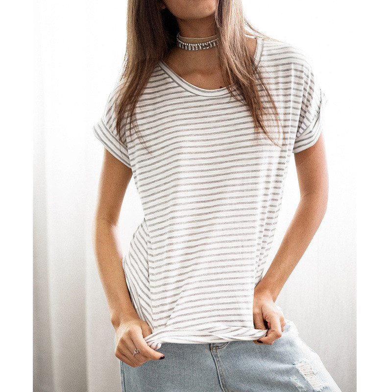 Summer Striped   T     Shirt   Women Casual O-neck Short Sleeve Cotton Tops Tee   Shirt   2019 New Basic Style White Cheap   T  -  shirt