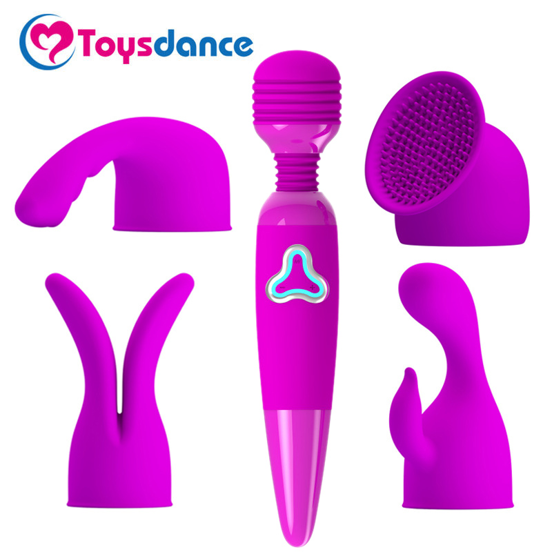 Buy Sex Products Women 7 Speed Rechargeable Power Wand Vibrator Female Sex Toys 250*45mm Powerful Clitoral Vibes Vaginal Dildo