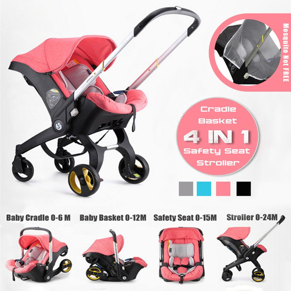 297c3a22c 4 IN 1 Car Seat Stroller Baby Carriage Basket Portable Travel System  Stroller with Safety Seat for 0-3 Years baby