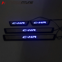 FIT For C HR 2016 2017 2018 Door LED Sill Scuff Plate Welcome Pedal Stainless Steel Car Styling