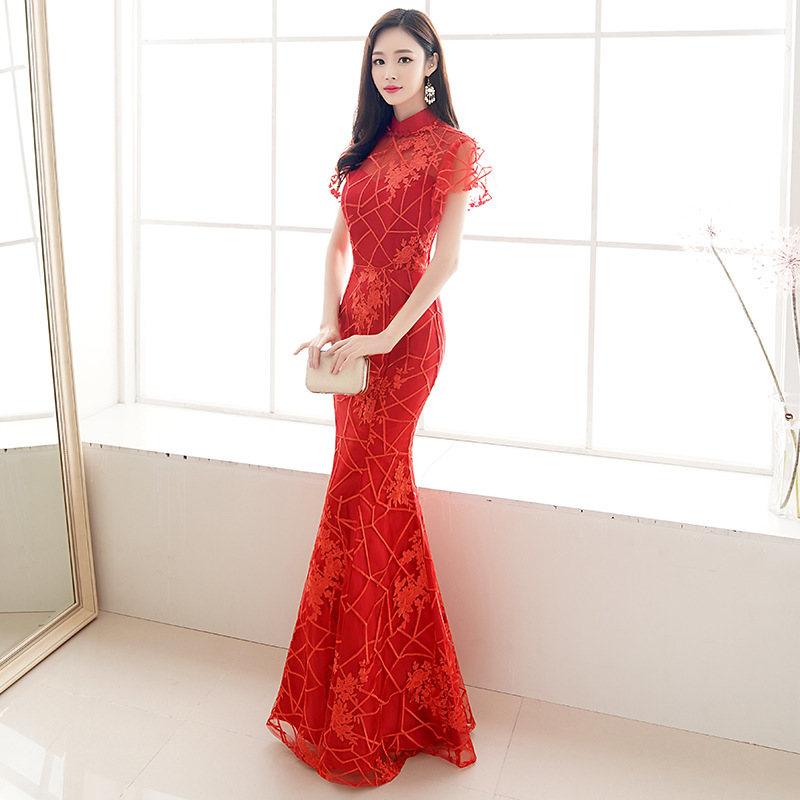 Chinese Bride Wedding Evening Party Cheongsam Women Red Mermaid Long Qipao Large Size 3XL Sexy Slim Dress Gown Lace Vestidos