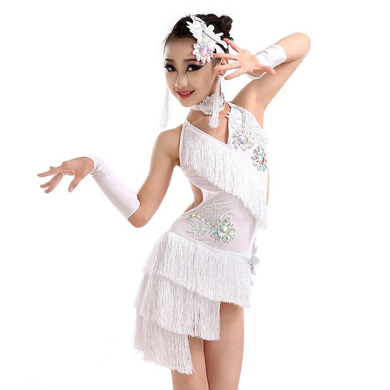 New girls latin dance costumes senior sexy stones tassel latin dance dress for women latin dance competition dresses 110 160