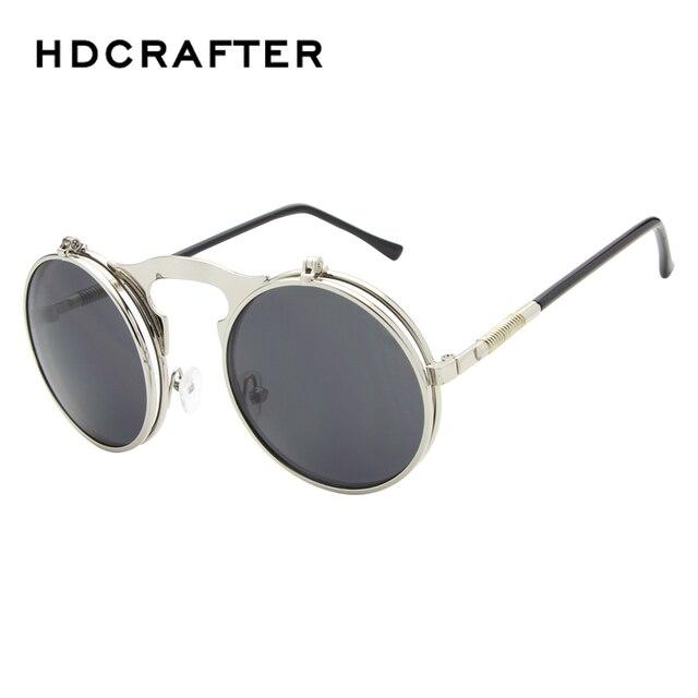 098ae20388f02f VINTAGE STEAMPUNK Lunettes De Soleil rondes Designer punk de vapeur de  Métal femmes REVÊTEMENT lunettes de
