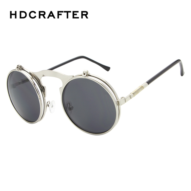 3fe7ca80780 VINTAGE STEAMPUNK Sunglasses round Designer steam punk Metal OCULOS de sol  women COATING SUNGLASSES Men Retro