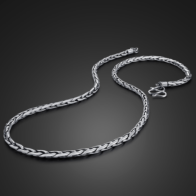 Solid silver dragon necklace pendant Man 100% 925 Sterling silver round snake chain men 61cm retro Thai silver necklace jewelry gagafeel vintage 925 sterling silver chain man necklace dragon head thai silver necklace for men jewelry punk style high quality