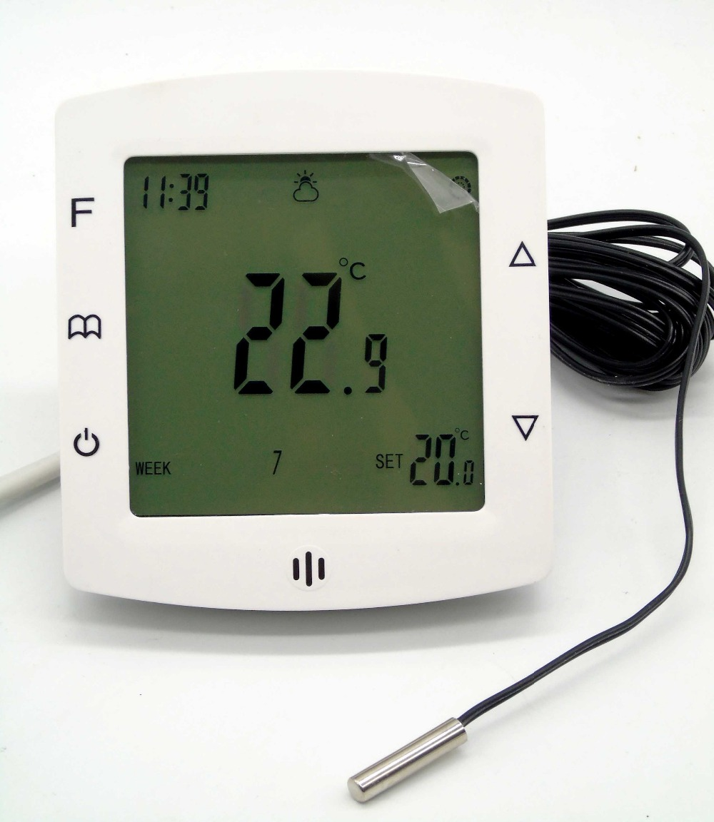 16A 230V Touch Screen Dual Sensor smart thermostat heating with Weekly Programmable