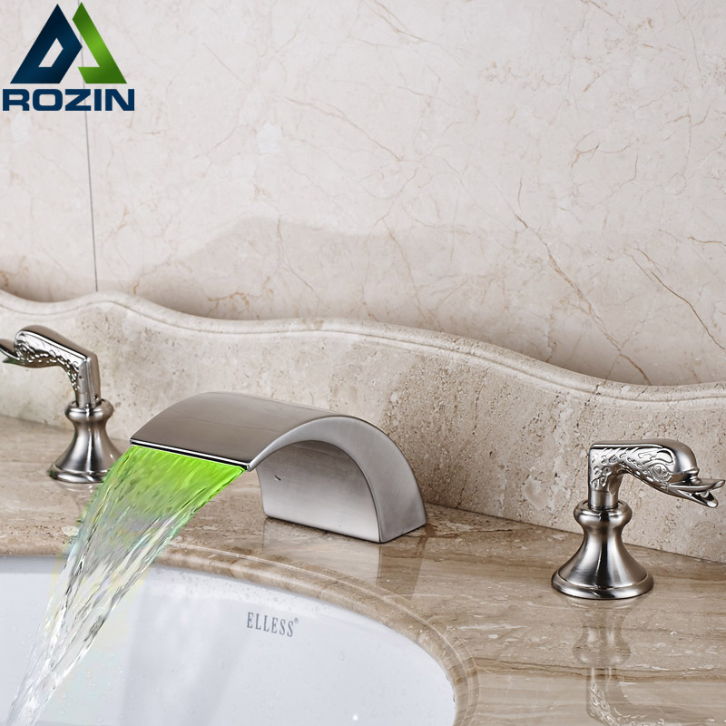 Матовый Никель водопад смеситель светодиодные Глава Ванная комната смесители двухслойные крепление две ручки