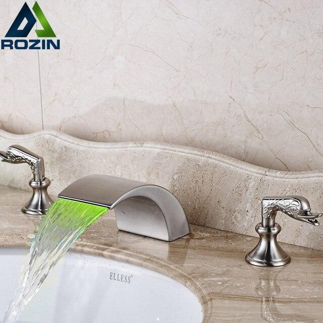 Nickel Gebürstet Wasserfall Waschbecken Wasserhahn LED Licht Bad  Mischbatterien Deck Montieren Zwei Griffe