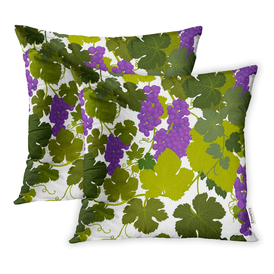 Pillow Grape Vines Wine Country Airbrush Painting Artist Carolyn Mcfann Square Home Cushion Two Sides Pillow image