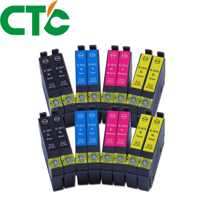 16 Pack 18xl T1811 Ink Cartridge Compatible for Epson Expression Home XP-30 XP-102 XP-202 XP-205 XP-302 XP-305 XP-402 XP-405