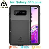 S10 Plus LOVE MEI POWERFUL Case with Glass For Samsung Galaxy S10 Plus Luxury Aluminum Metal Armor splashproof Shockproof Cover
