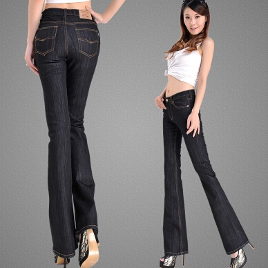 ФОТО New arrival  women plus size high waist denim flare trousers elastic speaker pants