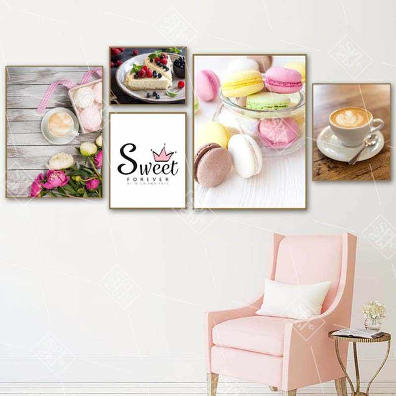 Macaron Cake Coffee Canvas Art Painting Nordic Home Decoration Posters And Prints Wall Pictures For Kitchen Restaurant No Framed