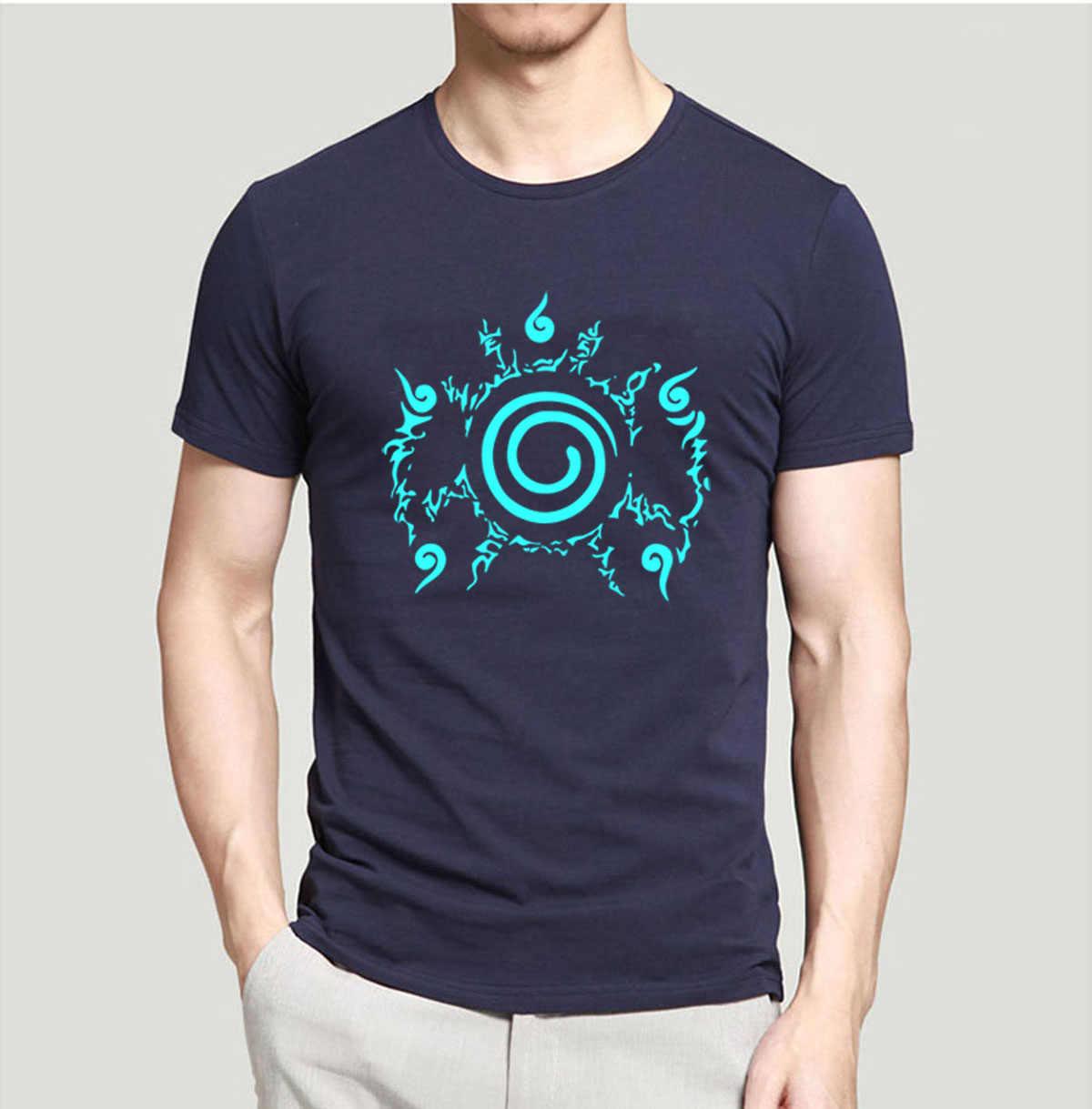 Japan Anime Naruto Nacht Licht Cool Erwachsenen T Shirts 2019 Sommer Mode Oansatz T Hemd 100% Baumwolle Männer T-Shirts Erwachsene tops Tees