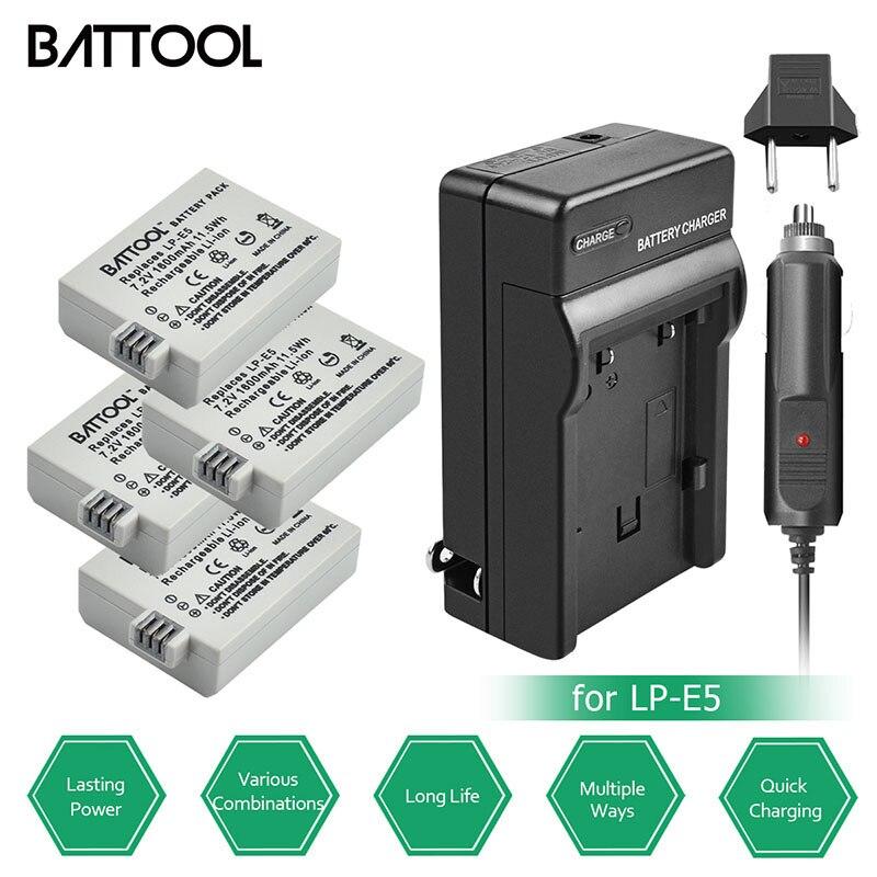 Battool Batterie Charger Kit Batteria 1600 Mah 7.2 V Lp-e5 Lp E5 Per Canon Eos 1000d 450d 500d Digital Rebel T1i Digital Rebel Xs