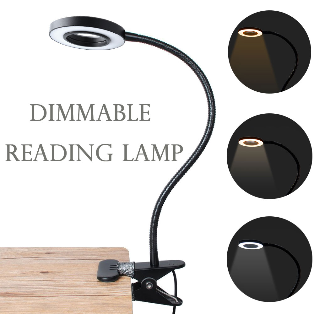 LED Desk Lamp with Clamp Dimmable Reading Light Eye-Care USB Table Lamp LED Bedside Lamp Baby Night Light Clip Lapto huan jun shi led dimmable desk lamp usb rechargeable led table lamp atmosphere night light eye care adjustable rgb table light