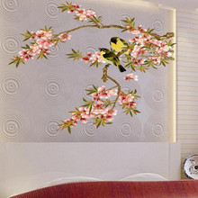 Plum Blossom the Yellowbird Pastorale Wall Stickers 50*70 CM Size Removable Sitting Room Free Shipping