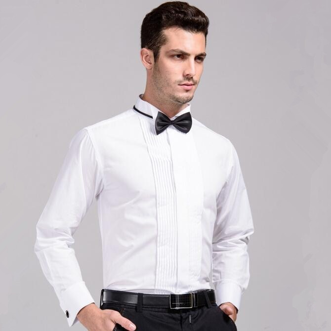 Buy mens wedding shirt with bowtie 2017 for Best place to buy mens dress shirts