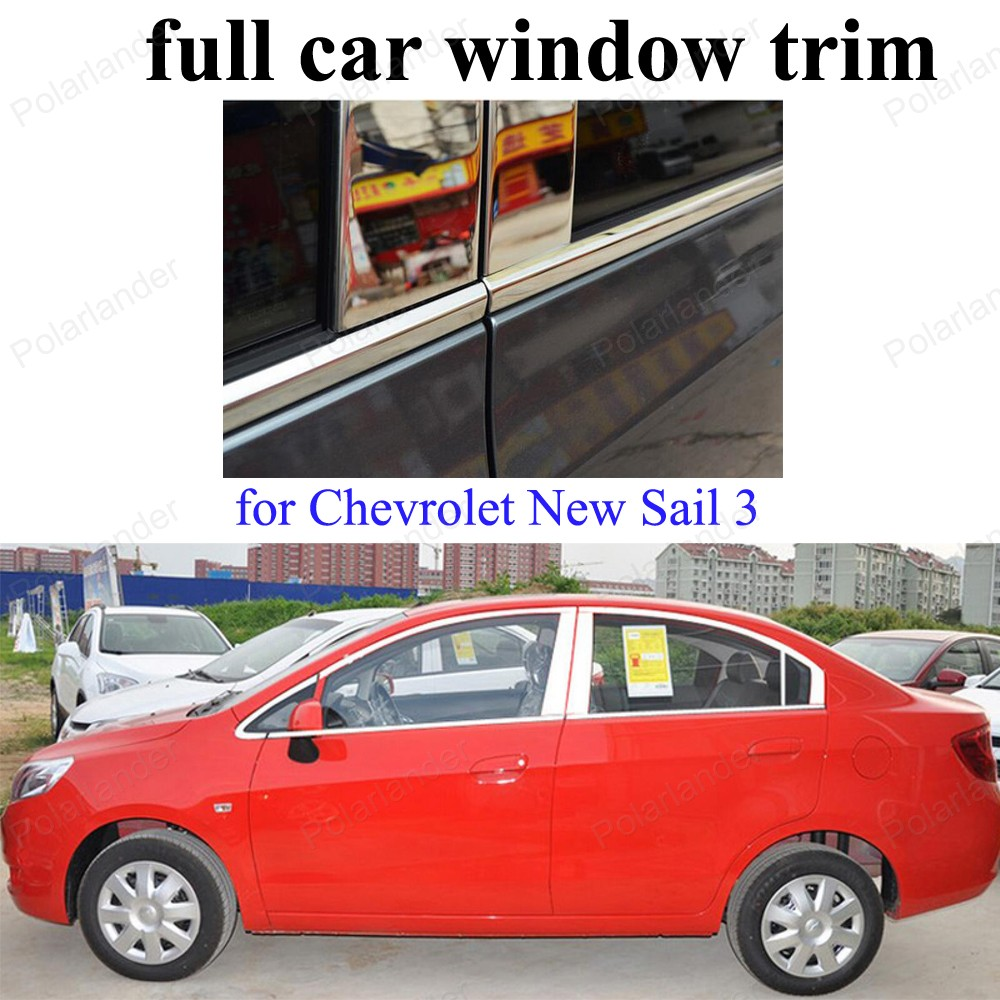 Fit For C-hevrolet New S-ail 3 full Window Decoration Strips Stainless Steel Moldings Trim with center pillar