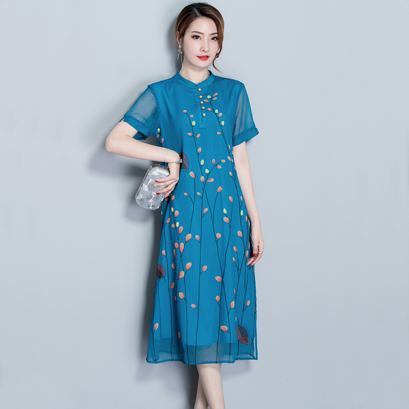 Real Vintage Clothing: Blue Real Silk Dress Summer Fairy Clothes For Women