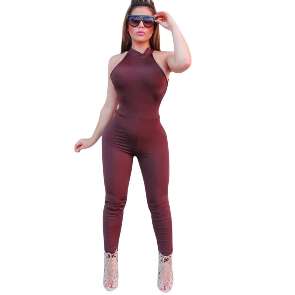 9981e64d0ee iRicheraf Summer Backless Bandage Cross Jumpsuit Sexy Sleeveless Skinny Rompers  Womens Club Jumpsuits Plus Size Long Pants XXXL