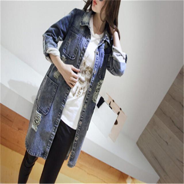 2016 mujeres del otoño de las mujeres jeans causal largo sheelves clothing elegante oficina denim abrigos de primavera mujer fashion girl señora cj027