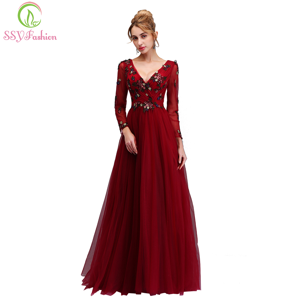 SSYFashion New   Evening     Dress   The Bride Banquet Sexy V-neck Long Sleeved Appliques Burgundy Floor-length Party Formal Gown
