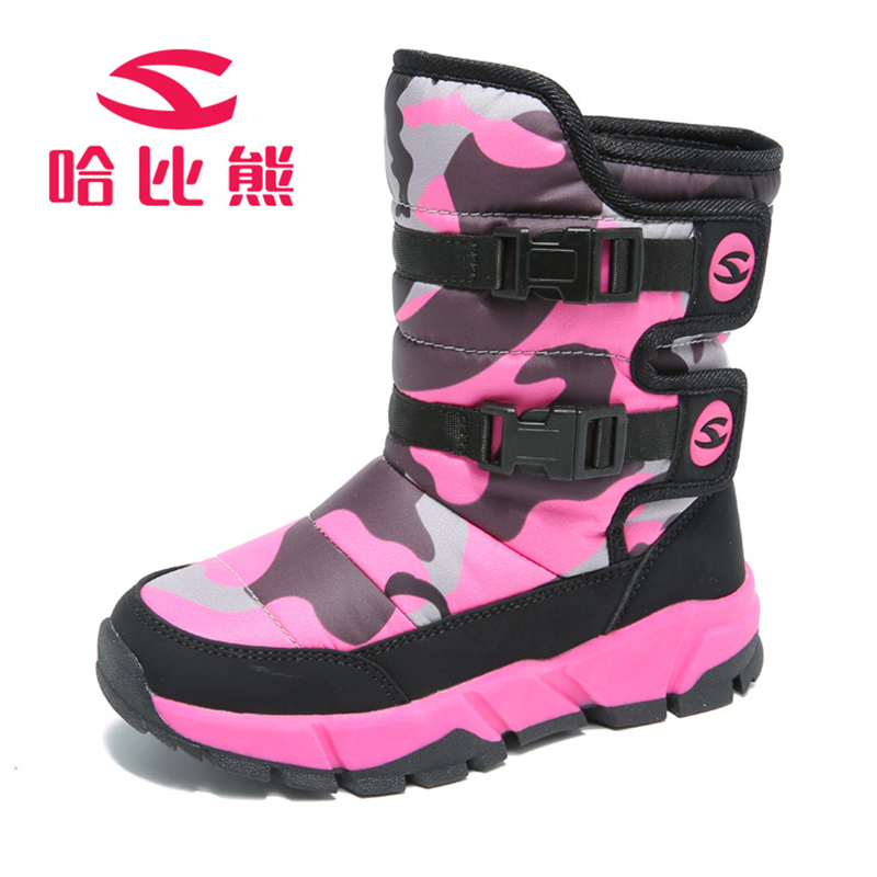 Winter Warm Snow Boots Children -30 Degree Waterproof Kids Girls Shoes Boys Snow Boots Warm Thicker Plush Windproof Shoes babyfeet 2017 winter fashion warm plush high top genuine cow leather children ankle girls snow boots kids boys shoes sneakers