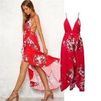 HLMFS mulheres verão V Neck Maxi Vestido ocasional Das Mulheres vestidos Sexy Backless Evening Vestidos de Festa vermelho Nighrtclub Desgaste Vestidos