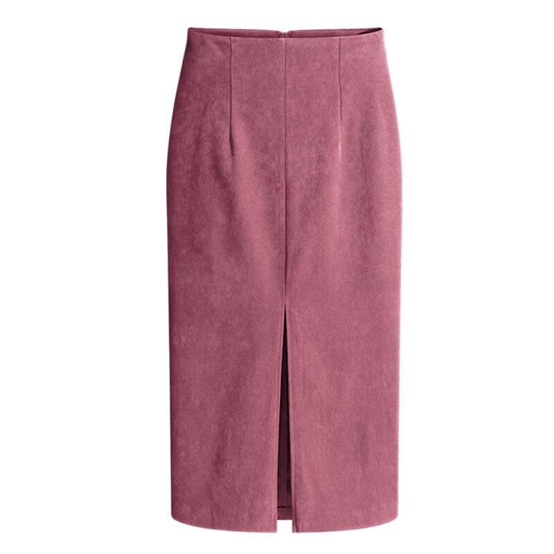 5e8825caabc 3XL New Korean Fashion Autumn Winter Suede Skirt Women Big Sizes High Waist  Skirts Womens Front