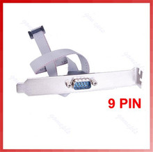 Serial 9 pin DB9 RS232 Motherboard Com Port Ribbon Cable Connector Bracket C26