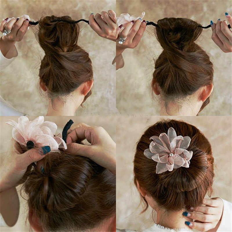 1 Pcs Fashion Wanita Gadis Mutiara Donat TWIST Ikat Kepala Rambut Ajaib Bun Pembuat Hairstyle Alat Gratis Pengiriman