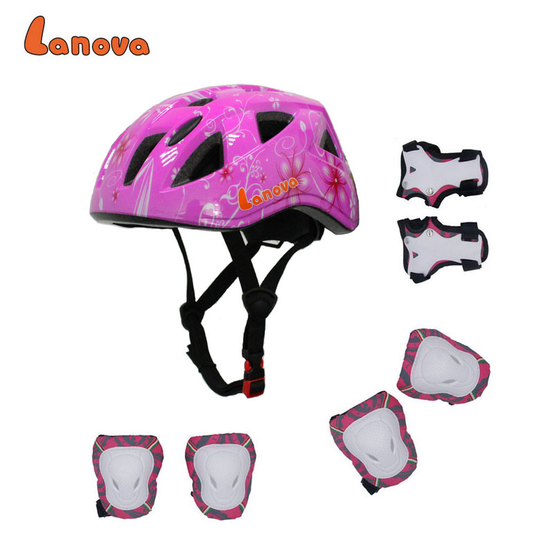 LANOVA 7Pcs/set Integral Cycling Skating Skateboard Helmet Roller Protector Elbow Knee Pads Wrist Sport Children Capacetes